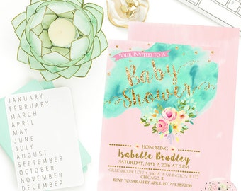 Baby Shower Invitation- Mint and Gold Baby Shower, Pink and Gold Invitation, Mint Baby Shower, Watercolor Invitation, Printable invitation,