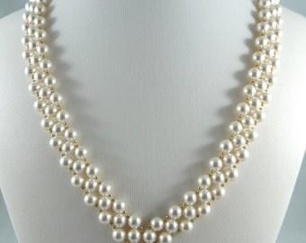 6 mm Swarovski White Glass Pearls Necklace
