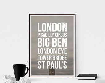 London Landmarks Printable Art - Big Ben, wall art, printable decor, digital download, typography poster