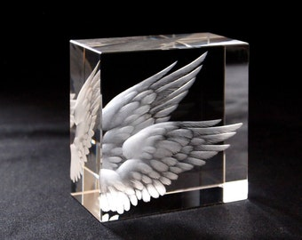 Wings - engraved glass