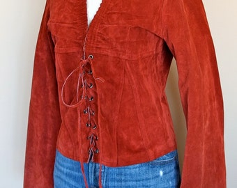 1970s Red Suede Lace up Bell Sleeves Retro Boho Hippie Top