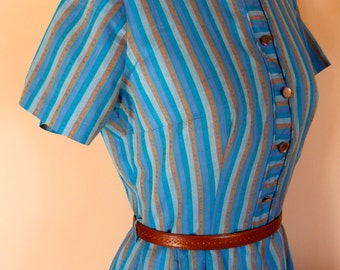 1950s 1960s Cotton Shirt Dress Fitted Pencil Skirt