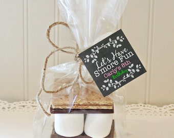 BIRTHDAY S'MORE FAVORS, S'more Birthday Tags, S'mores Favor Kits, Birthday Party Favors, S'mores Bags, Cello Bags, Personalized Favor, Cute