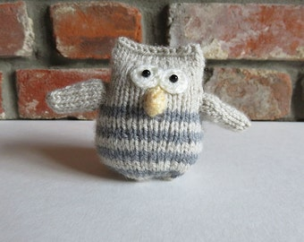 Soft Stripey Taupe and Grey Hand Knitted Owl