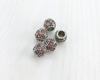Pink Rhinestone Silver Spacer Beads, European Bead, Large Hole Beads, Rhinestone Bead, European Bracelet, European Charm Beads, EB1319