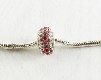 Pink Red Rhinestone European Bead, Large Hole Beads, European Charm Beads, European Bracelet, Loose Beads, Big Hole Bead, EB1108