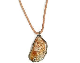 Citrine Necklace, Citrine Pendant, Orange Necklace, Orange and Metal Neklace, Rustic Neklace, Rustic Natural Pendant, Citrine Stone Necklace