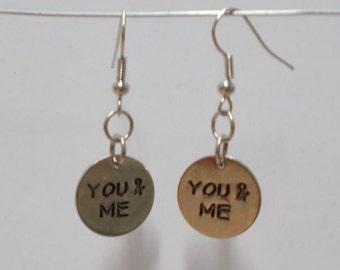 You And Me Earrings, You And Me Charm, Silver Charm Earrings, Silver Charm, Relationship Earrings, Spouse Earrings, Wife Earrings