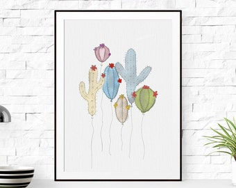 Cactus Print, Cactus Printable, Cactus Wall Art, Botanical Print, Tropical Wall Art, Cactus Poster, Watercolor Cactus Art, Cactus Wall Decor