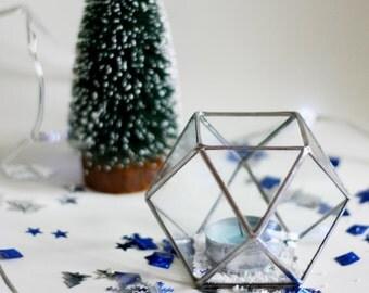 Glass Geomertic Candle Holder / Geometric Glass Holder / Christmas decor /