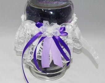 Purple Ribbon White Lace Garter