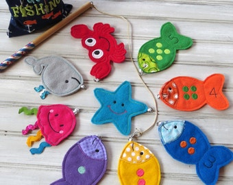 Magnetic Fishing Game-Kids Magnet Fishing Set-Toddler Educational Game-Felt Sea Animals with pole-Educational Number Game-Imaginative Play