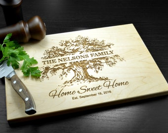 Personalized Cutting Board, Custom Wedding Gift, Housewarming Gift, Anniversary Gift, Engraved Wood Chopping Block, Hostess Gift, New Home