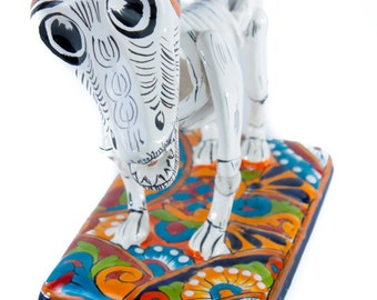 Catrina Style Dog with colorful talavera details skeleton day of the dead pet home decoration statue