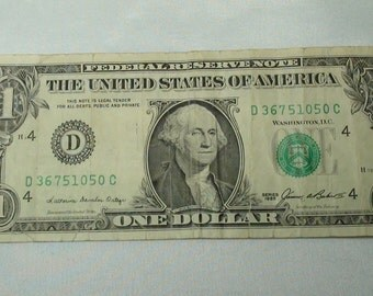 1985 Dollar Bill, old series currency, collectible currency, old money, George Washington, small size notes, rare banknotes, old paper money