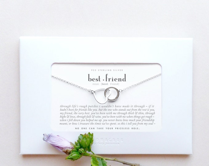 Bestfriend | Sterling Silver Heart Circle Karma Necklace Poem Message Card Friendship Best Friend Long Distance Miss You Birthday Gift