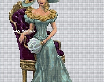 Elegant Lady Seated On A Gilded Chair Cross Stitch Chart