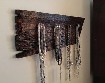 Reclaimed wood jewelry holder