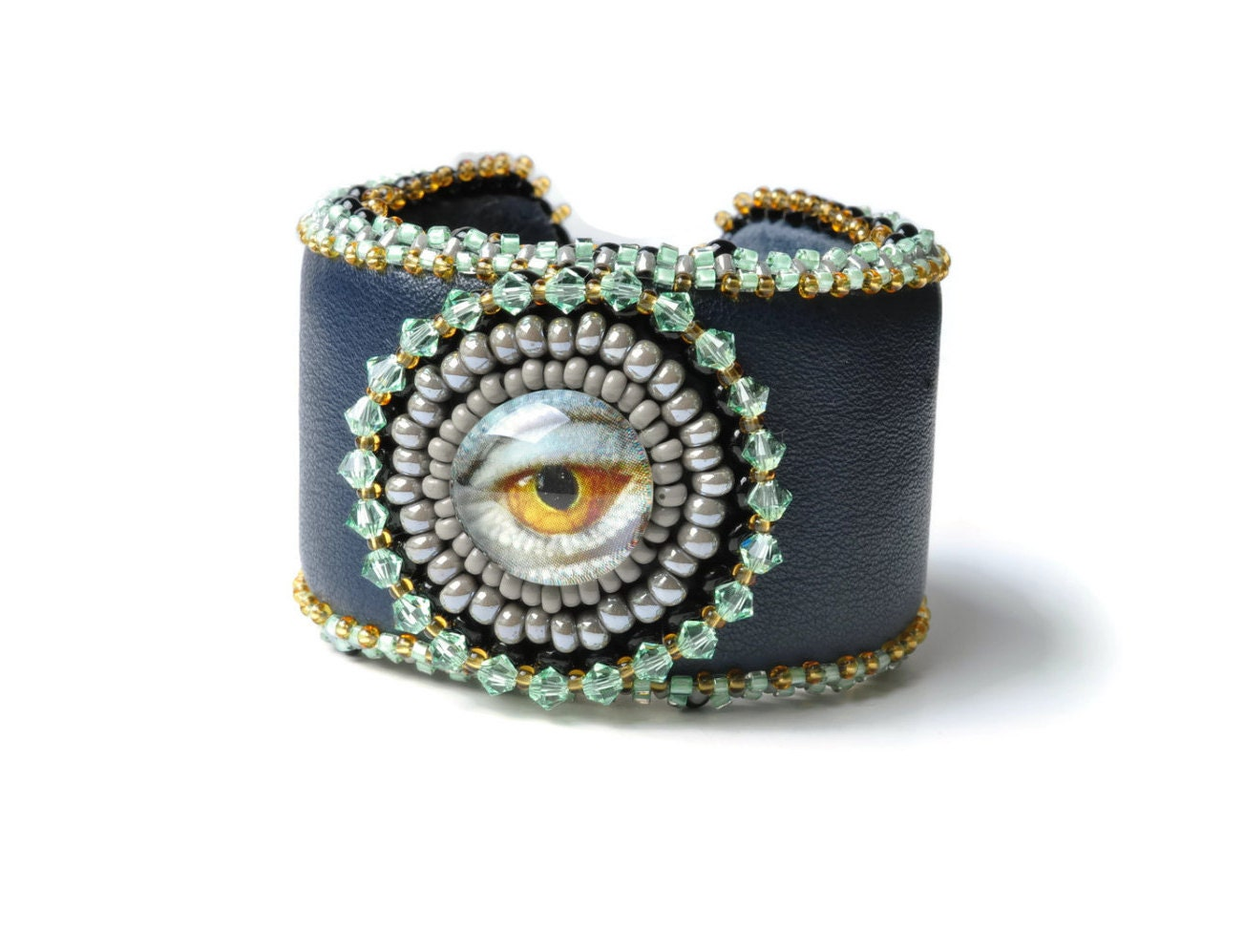 Eye leather crystals bead embroidery bracelet cuff statement