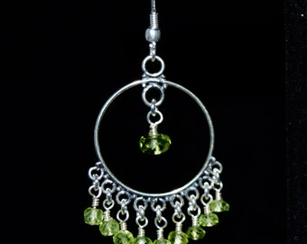 Peridot and Sterling Silver Chandelier Earrings