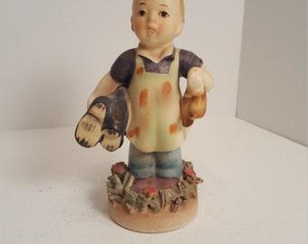 Occupied Japan American Children figurine; The Shoe Maker; 1940's; vintage figurine; vintage statue; goebel; hummell