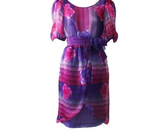 Vintage Hanae Mori Pink and Purple Floral Printed Silk Organza Dress 1980s