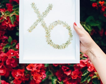 Hand Painted Watercolor XO Leaves Foliage Print