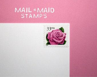 Coral Pink Rose Stamps    Set of 10 unused vintage postage stamps