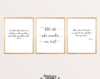 Set of 3 LOTR Quote Print, 8x10 Printable, Instant Download, Lord of the Ring Quote, J.R.R. Tolkien