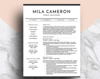 Professional Resume Template for Word | CV Template | Modern Resume Design | Two Page Resume + Cover Letter | Mac or PC | Instant Download