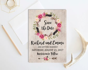 Rustic Boho Save the Date Card, Printable Floral Boho Save the Date, Rustic Save the Date, Bohemian Card, Arrows, Wedding, Download, 106-A