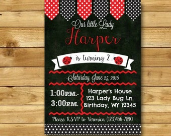 Ladybug Birthday Invitation Ladybug Invitation Ladybug Party Ladybug Birthday Party Lady Bug Birthday Party Lady DIGITAL 5x7