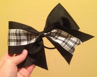 Black Plaid Cheer Bow