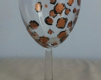 wine glass, leopard print, painted wine glass, wineglass, hand painted glass, animal print