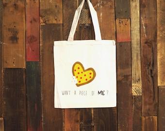 "Pepperoni Pizza tote bag // Funny tote bag // Funny gift // Kawaii bag // Grunge tote bag // Screen printed tote bag // ""want a piece of ME"""