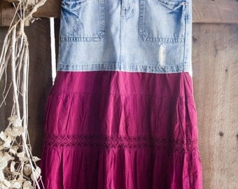 Tiered Skirt - Denim and Cotton