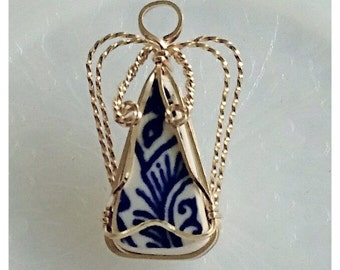 Blue Willow China and 14/20 Gold Filled Wire Wrapped Angel Pin - #11366
