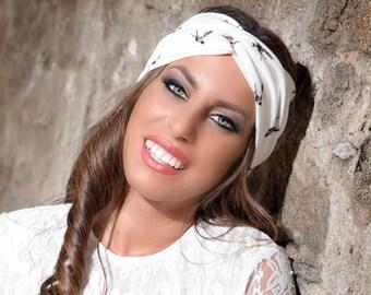 Bird print yoga headband, turban headband, womens headbands, adult headband woman, turban headband women, turban headwrap adult, head bands