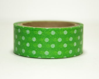 Washi Tape for green with white polka dots