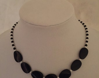 Beaded Necklace Black and White #266