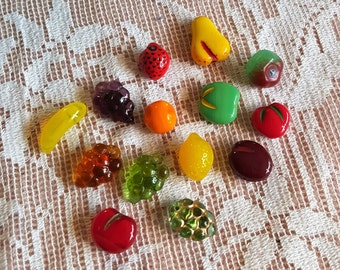Czech Glass fruit beads from the Czech Republic grapes orange pear cherry apple and more