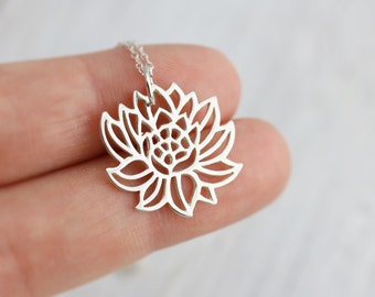 Lotus Necklace - Sterling Silver Blooming Lotus Necklace - Lotus Pendant - Lotus Jewelry - Yoga Necklace - Flower Necklace - Nature Necklace