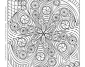 """Candy Kaleidoscope """"Candy Doodle Groovy Mandala"""" Adult coloring page printable download from Artwork Anywhere ~hand drawn zen doodle candy~"""