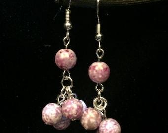 Purple Czech Drop Earrings