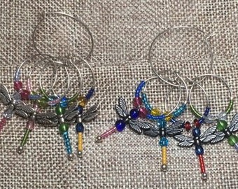 Set of 4 Dragonfly Wine Glass Charms.  Choose Gunmetal tone or Antiqued silver tone
