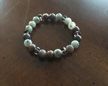 Sky Mountain Blue Jasper, Dark Grey Agate, and Smokey Crystal Beaded Stretch Stackable Bracelet
