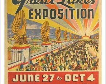 Great Lakes Exposition Vintage Poster Cleveland 24x36 Art Nouveau Classic