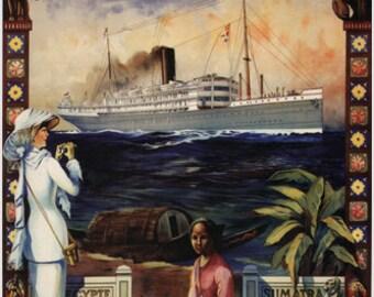 Fly The Sapphire Service To Ceylon Vintage Travel Poster Sri Lanka 1914 24x36