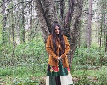 70's handmade patchwork wrap skirt