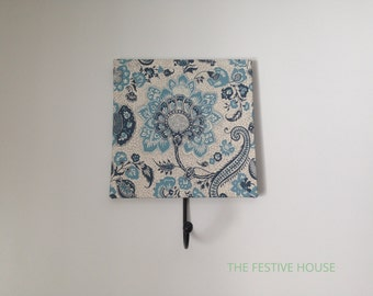 Decorative Wall Hook - Blue & White Floral